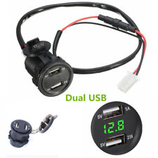 3.1A 2in1 Dual USB Charger Socket Voltage Voltmeter Green Led light For Auto Car