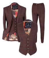 Cavani Men's Retro Wine Check Tweed Formal Office Blazers Trousers Waistcoats