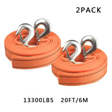 """2PACK Heavy Duty Tow Strap with Hooks 13,000 Lb Capacity 2"""" X 20' Orange Rope"""