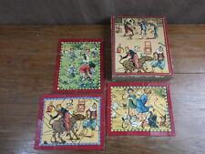 BOITE 3 PUZZLES JIGSAW vers 1930 clowns Cirque Circus + Fillettes