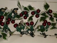 Vintage Set Christmas Lighted Holly  String  Holly Leaf Berry 36ct 13'ft