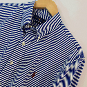 Mens Genuine Ralph Lauren Blue White Slim Fit Long Sleeve Shirt Size L Large