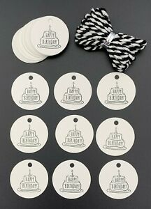 25 Happy Birthday Gift Tags Labels 30mm White Birthday Cake & Black & White Cord