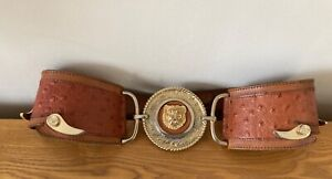 Stunning Vintage Leather Corset Belt With Lion's Head