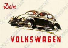 """VW Maggiolino """"il tuo VOLKSWAGEN"""" POSTER MANIFESTO immagine KDF stampa D'ARTE FOTO VOLKSWAGEN"""