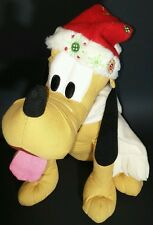 Disney Christmas Pluto Plush Stuffed Animal Hat Scarf Snowflakes Embroidery Toy