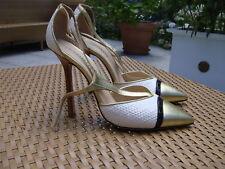 EMILIO PUCCI Stilettos Gr. D 40 Weiß Gold Damen Schuhe High Heels Shoes Pumps