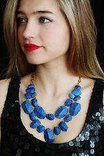 kate spade BLUE LAPIS quarry gems double drop statement necklace & earrings SET