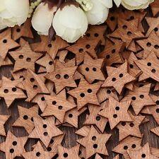 100PCS Craft Scrapbook Wooden 2 Holes Buttons Star Shape