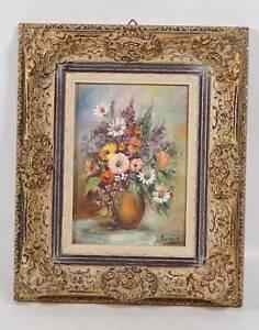 Vintage original Öl Gemälde Blumen Stillleben im Prunkrahmen signiert
