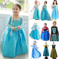 Children Girl Dresses Princess Anna Queen Elsa Costume Cosplay Frozen Party Gown