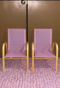Kid's Pink/Orange Sling Back Stacking Chairs. Set Of 2.
