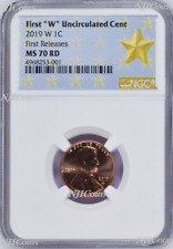"2019 W First ""W"" Uncirculated Cent First Releases NGC MS70 ms 70 RD STAR Label"