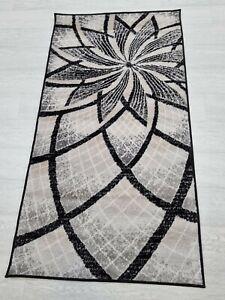 Quality Rug Black Beige Grey 80 x 150 cm Soft Touch Living Room Turkish Carpet