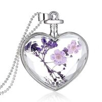 Hot Luxury Silver Dried Flower Glass Locket Heart Pendant Necklace Purple Nature