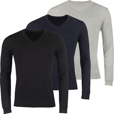 New Mens V Neck Jumper Slim Fit Soft Cotton Pullover Knitted Plain Sweater Top