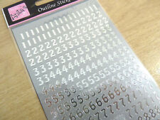 Small Shiny Silver Sticky Adhesive Numbers 0-9, Labels Stickers for Craft WD-9