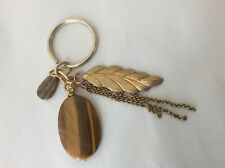 Tiger's eye stone leaf chains charms  key chain
