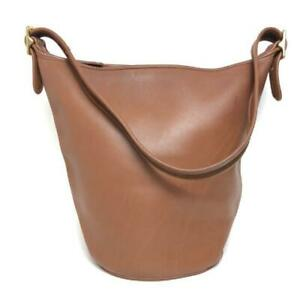 COACH Vintage Duffle Feed Sac Leather Shoulder Bucket Bag Brown H6D 9085 USA