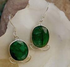 Smaragd Ohrhänger Groß Silber Handarbeit Modern Verspielt Floral Grün Ohrringe
