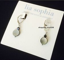 "Lia Sophia ""Daybreak"" Silver-Tone Genuine Mother-of-Pearl Earrings"