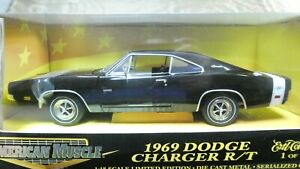 American Muscle ERTL 1969 Dodge Charger R/T Black 1/18 Limited Ed. 1 of 3749 MIB