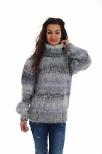 Gray Hand Made Knitted SWEATER T-neck Fuzzy Soft Handgestrickt Pullover by SSEu