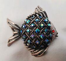Vintage Fish Brooch Blue Aurora Borealis Crystal Silver tone sea ocean nautical