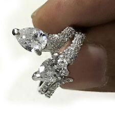Cut Gorgeours .925 Silver Ring-Video 4.14ct D-h=color vvs1-/Great White Pear