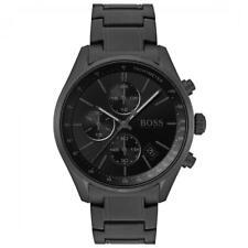 New Hugo Boss Men's Grand Prix Black Chronograph Stainles Steel Watch HB1513676