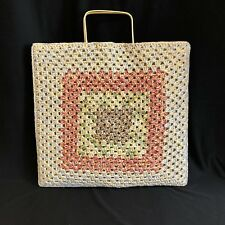 VTG Festival Macrame Shopper Tote Metal Handles Polyethylenne Made In Spain