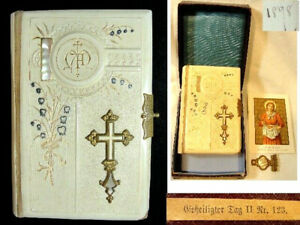Antique 1898 German Celluloid & Mother of Pearl Geheiligter Tag Prayer Book