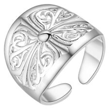 Fashion Ring Thumb Finger Ring 925 Sterling Silver Plated Large Flower