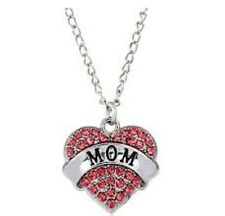 Heart Necklace with Pink Rhinestones MOM
