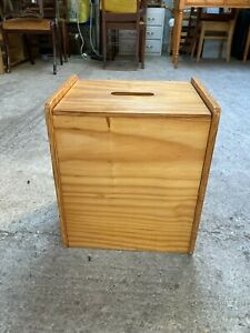 Vintage Retro Brown Solid Natural Pine Laundry Bin Toy Box Storage