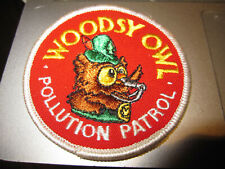 VINTAGE WOODSY OWL POLLUTION PATROL EMBROIDERED PATCH EXCELLENT CONDITION