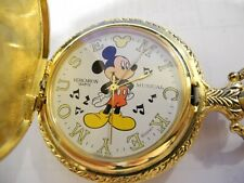 (COLIBRI) VERICHRON DISNEY MICKEY MOUSE MUSICAL POCKET WATCH NEW WOOD BOX REDUCE