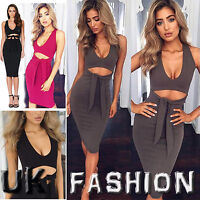 UK WOMENS BANDAGE BODYCON COCKTAIL LADIES MIDI PARTY DRESS SIZE 6 - 14