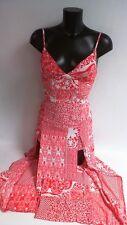 Parisian Scarf Print Maxi Dress - Red/White UK Size 10 #19R376