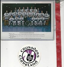 Vintage Cleveland Crusaders decal and team picture defunct NHL team FREE SHIPPIN