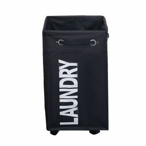 Rolling Laundry Hampers Waterproof Collapsible Clothes Baskets Oxford 40x34x60cm