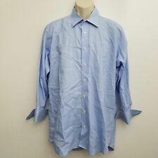 Holland Sherry Bespoke Mens Dress Shirt 17.5 Blue White Check Button Up Cotton