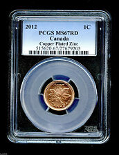 2012 CANADA CENT PCGS MS67 RD NON MAGNETIC ZINC HIGH GRADE LAST YEAR OF ISSUE !