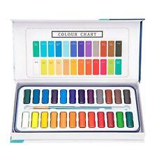 Aquarellfarben set – 24 lebendige Farben inklusive 1 Pinsel und 8 Aquarellpapier