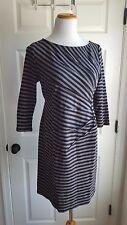 A Pea In The Pod Sz M Maternity Dress Gray Black Stripe Sheath Career Office