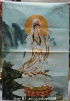 """36"""" Tibet Silk Satin Guanyin Kwan-yin Goddess Avalokiteshvara Thangka Mural"""
