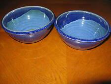 "2 Gina VanDyke 2005 Blue Pottery Bowls 6-3/8"" North Carolina"