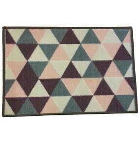 Geometric 60cm Washable Pink Purple Grey Pet Dog Feeding Food & Water Bowl Mat