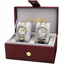 New His & Hers Akribos XXIV AK888TTG Two-tone Crystal Accented Steel Watch Set