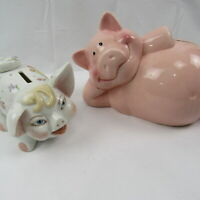 Piggy Banks Lot of Two Vintage Coin Bank Pink and Painted Signed Collectible
